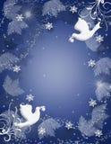 Chispa de las palomas del acebo del fondo de la Navidad ilustración del vector
