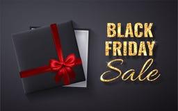 Chispa de oro del brillo de la venta de Black Friday Caja de regalo negra abierta con la opinión de top roja del arco y de la cin ilustración del vector