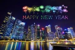 Chispa del fuego artificial de la Feliz Año Nuevo con el distrito financiero central b Imágenes de archivo libres de regalías
