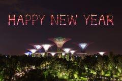 Chispa del fuego artificial de la Feliz Año Nuevo con los jardines por la bahía en la noche Fotografía de archivo