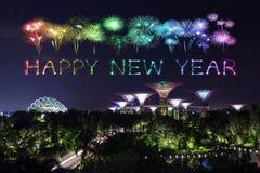 Chispa del fuego artificial de la Feliz Año Nuevo con los jardines por la bahía en la noche Imagen de archivo