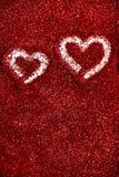Chispa roja del amor del fondo del extracto del día de tarjeta del día de San Valentín de los corazones del brillo fotografía de archivo libre de regalías
