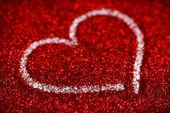 Chispa roja del amor del fondo del extracto del día de tarjeta del día de San Valentín de los corazones del brillo fotografía de archivo