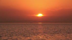 Chispas brillantes del sol rojo en la reflexión de la ondulación del agua almacen de metraje de vídeo