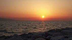 Chispas brillantes del sol rojo en la reflexión de la ondulación del agua almacen de video