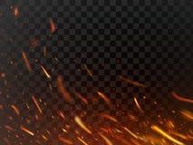Chispas calientes del primer y partículas ardientes de la llama aisladas Chispas del fuego del infierno y fondo oscuro del vector Imágenes de archivo libres de regalías