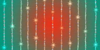 Chispas y estrellas brillantes abstractas en fondo rojo y verde ilustración del vector