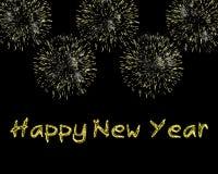 Chispas y fuegos artificiales de la Feliz Año Nuevo Imagen de archivo libre de regalías