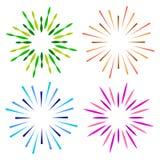 Chispea el logotipo colorido del resplandor solar del starburst ilustración del vector