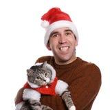 chistmas кота его человек Стоковое Изображение