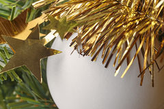 Chistmas decoration detail with golden stars and ball Stock Image
