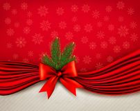 Chistmas holiday background with gift glossy bow and ribbons. Royalty Free Stock Images
