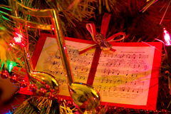 Chistmas Note. Christmas tree with music note and music ornaments Royalty Free Stock Images