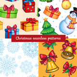 Chistmas patterns kit. Vector chistmas patterns collection with gifts, snowman, snowflakes, balls Stock Photo