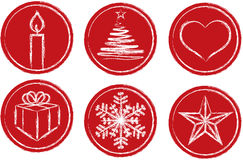 Christmas symbols. Six different symbols in a set consisting of a candle, Christmas tree, wrapped gift, snowflake, heart and a star. Vector illustration Royalty Free Stock Photography
