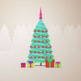 Chistmas tree, retro poster design, minimal art, Stock Photo