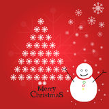 Chistmas tree with a snowman Royalty Free Stock Photos