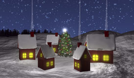 Chistmas village with snow Royalty Free Stock Images