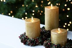 Chistmas Xmas Candles  Stock Photo