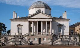 Chiswick House, set in large gardens in west London, UK. Villa built in Palladian style.