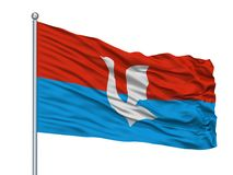 Chita City Flag On Flagpole, Rússia, Chita Oblast, isolada no fundo branco ilustração stock