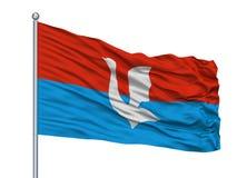Chita City Flag On Flagpole Ryssland, Chita Oblast som isoleras på vit bakgrund stock illustrationer