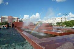 Chita, RU - Jul17 2014: City fountain in the central square of Chita Stock Photography