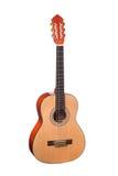 Chitarra acustica classica di legno naturale isolata su un fondo bianco Fotografia Stock