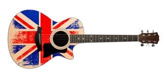 Chitarra acustica con la bandierina britannica Fotografia Stock