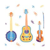 Chitarra acustica di stile di schizzo, banjo, violino, fiddle Illustrazione disegnata a mano di vettore Elementi per il festival  illustrazione vettoriale