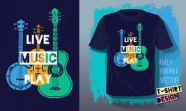 Chitarra acustica di stile di schizzo di slogan dell'iscrizione del gioco di musica in diretta retro, banjo, violino, fiddle per  illustrazione vettoriale