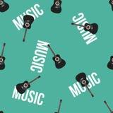 Chitarra acustica e testo sul modello senza cuciture di vettore blu del fondo Fotografie Stock Libere da Diritti
