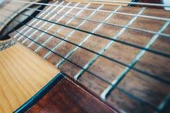 Chitarra acustica, fine su Fotografia Stock