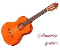 Chitarra acustica isolata su bianco colorato Vettore Fotografia Stock Libera da Diritti