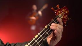 Chitarra bassa Due chitarristi giocano la chitarra Fine in su Fumi la priorità bassa archivi video