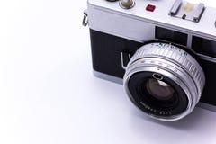 Chitarra, bianco e nero elettrico e vecchio Fotografia Stock