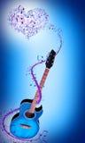 Chitarra blu Immagini Stock
