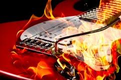 Chitarra Burning Fotografie Stock