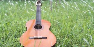Chitarra classica sull'erba Fotografie Stock Libere da Diritti
