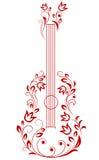 Chitarra con gli elementi floreali Fotografie Stock