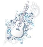 Chitarra con gli ornamenti e le note di musica Fotografia Stock Libera da Diritti