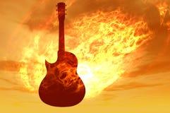 Chitarra del fuoco Fotografie Stock