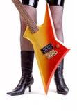 Chitarra della roccia di Glam Fotografie Stock
