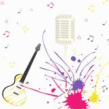 Chitarra di canto di musica con il microfono Illustrazione Vettoriale