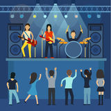 Chitarra di concerto rock e musicista, illustrazione di vettore dello strumento musicale illustrazione vettoriale