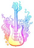 Chitarra disegnata a mano Fotografia Stock