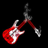 Chitarra e fumo Fotografia Stock Libera da Diritti