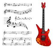 Chitarra e musica Immagini Stock
