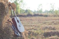 Chitarra e violino che riposano sulla divisione nei campi, w della paglia Immagini Stock