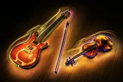 Chitarra e violino con pittura leggera Fotografie Stock Libere da Diritti